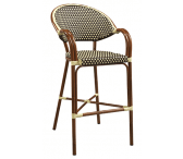 Fan-Back Synthetic Wicker & Bamboo Commercial Outdoor Bar Stool
