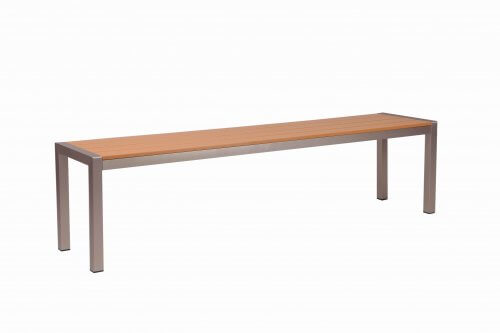 "Tan Synthetic Wood Aluminum Restaurant Bench (16"" x 69"")"