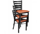 Stackable Black Steel Ladderback Restaurant Chair with Upholstered Seat