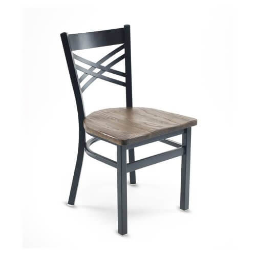 Black Metal X-Back Commercial Chair with Reclaimed Wood Seat