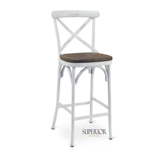 Antique White Metal Cross-Back Commercial Bar Stool with Premium Solid Ashwood Seat